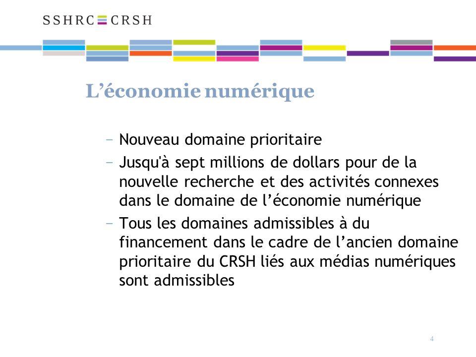 4 Léconomie numérique Nouveau domaine prioritaire Jusqu à sept millions de dollars pour de la nouvelle recherche et des activités connexes dans le domaine de léconomie numérique Tous les domaines admissibles à du financement dans le cadre de lancien domaine prioritaire du CRSH liés aux médias numériques sont admissibles