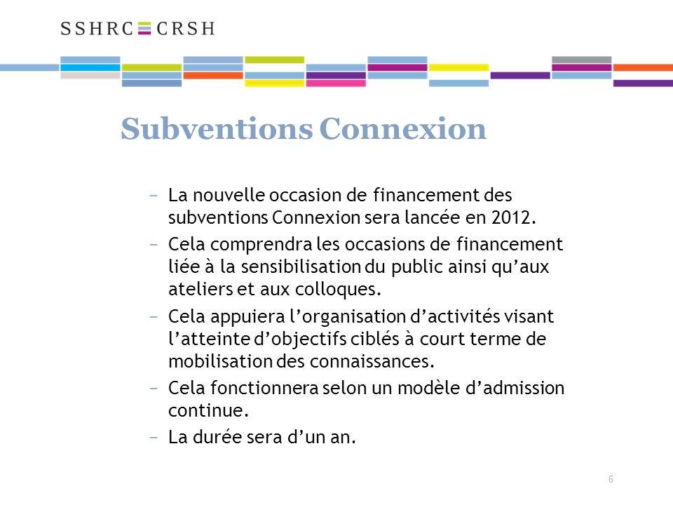 6 Subventions Connexion La nouvelle occasion de financement des subventions Connexion sera lancée en 2012.