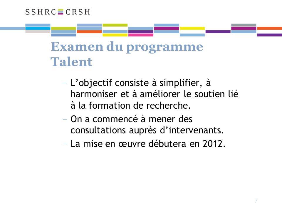 7 Examen du programme Talent Lobjectif consiste à simplifier, à harmoniser et à améliorer le soutien lié à la formation de recherche.