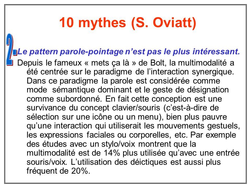 10 mythes (S. Oviatt) Le pattern parole-pointage nest pas le plus intéressant. Depuis le fameux « mets ça là » de Bolt, la multimodalité a été centrée