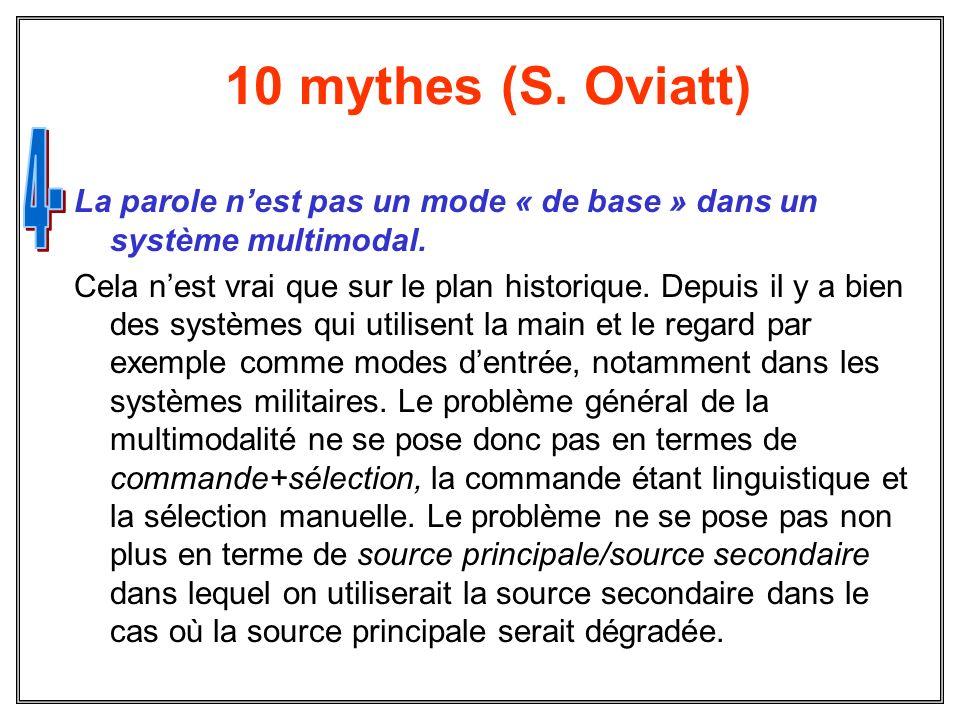 10 mythes (S. Oviatt) La parole nest pas un mode « de base » dans un système multimodal. Cela nest vrai que sur le plan historique. Depuis il y a bien