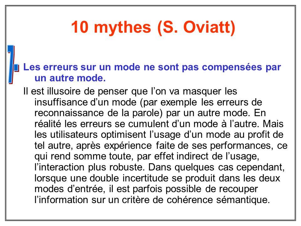 10 mythes (S. Oviatt) Les erreurs sur un mode ne sont pas compensées par un autre mode. Il est illusoire de penser que lon va masquer les insuffisance