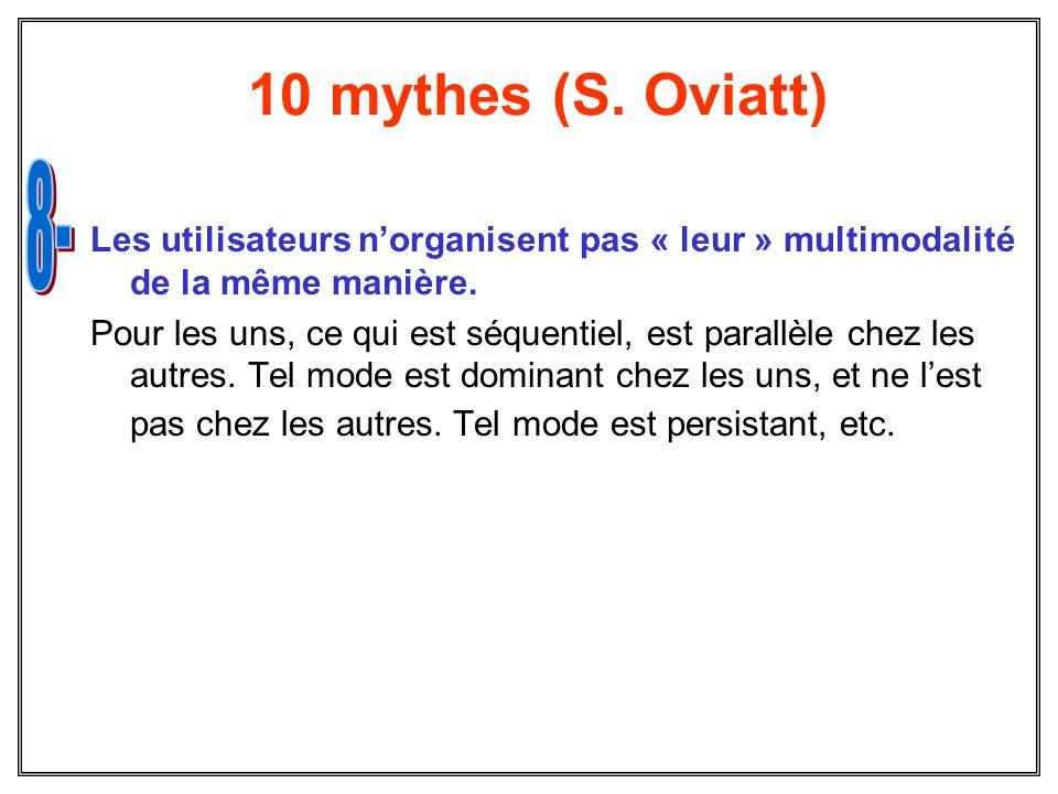 10 mythes (S. Oviatt) Les utilisateurs norganisent pas « leur » multimodalité de la même manière. Pour les uns, ce qui est séquentiel, est parallèle c