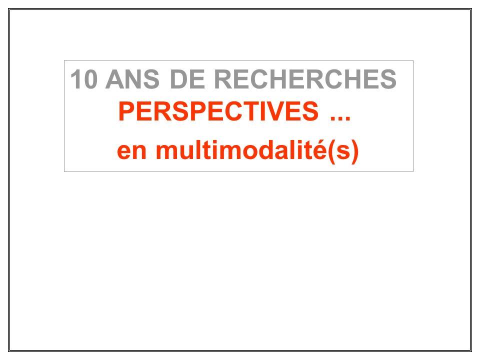 10 ANS DE RECHERCHES PERSPECTIVES... en multimodalité(s)