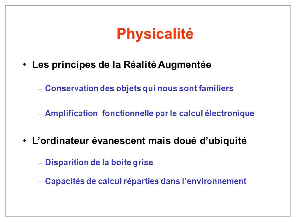 Physicalité Les principes de la Réalité Augmentée –Conservation des objets qui nous sont familiers –Amplification fonctionnelle par le calcul électron
