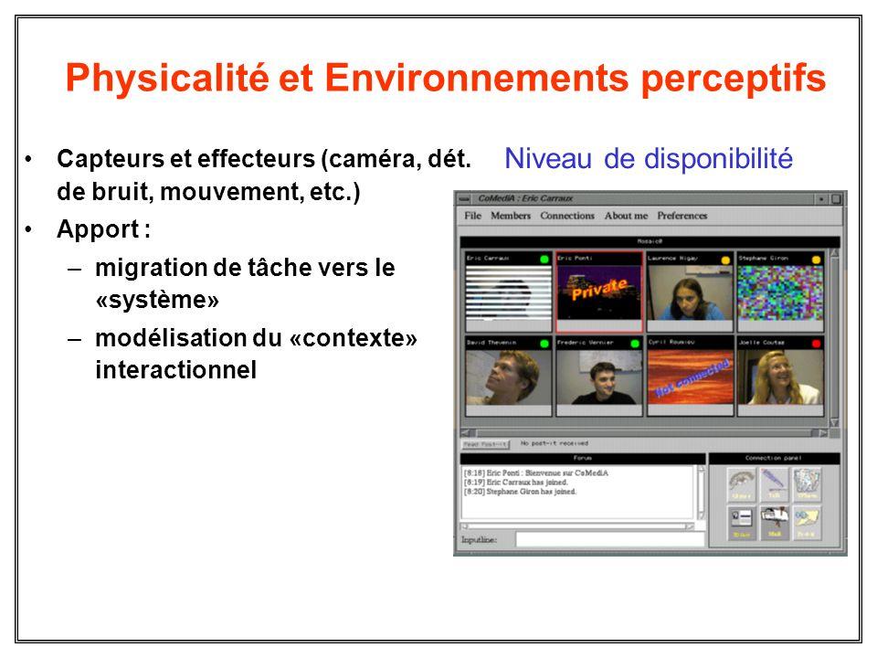 Physicalité et Environnements perceptifs Capteurs et effecteurs (caméra, dét. de bruit, mouvement, etc.) Apport : –migration de tâche vers le «système