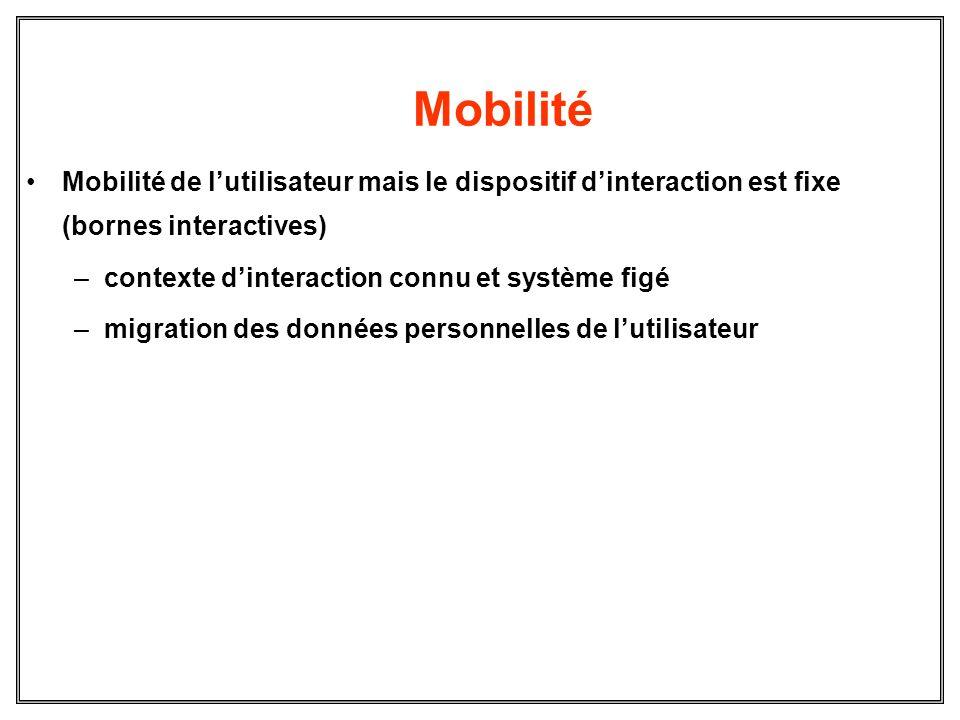Mobilité Mobilité de lutilisateur mais le dispositif dinteraction est fixe (bornes interactives) –contexte dinteraction connu et système figé –migrati