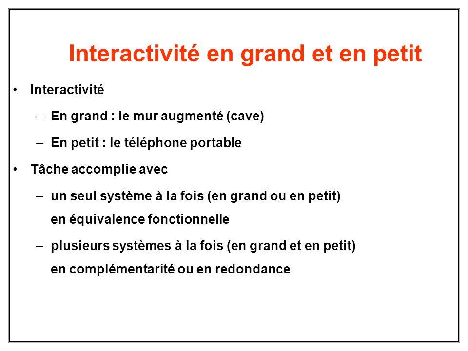 Interactivité en grand et en petit Interactivité –En grand : le mur augmenté (cave) –En petit : le téléphone portable Tâche accomplie avec –un seul sy