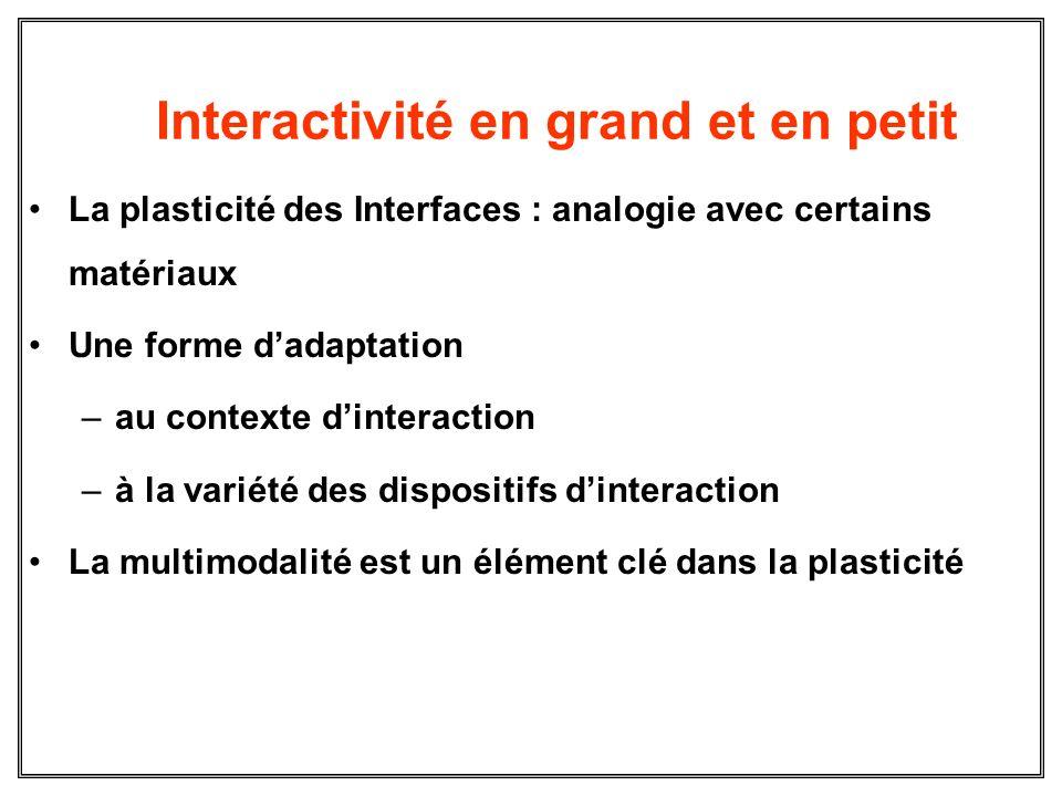 Interactivité en grand et en petit La plasticité des Interfaces : analogie avec certains matériaux Une forme dadaptation –au contexte dinteraction –à