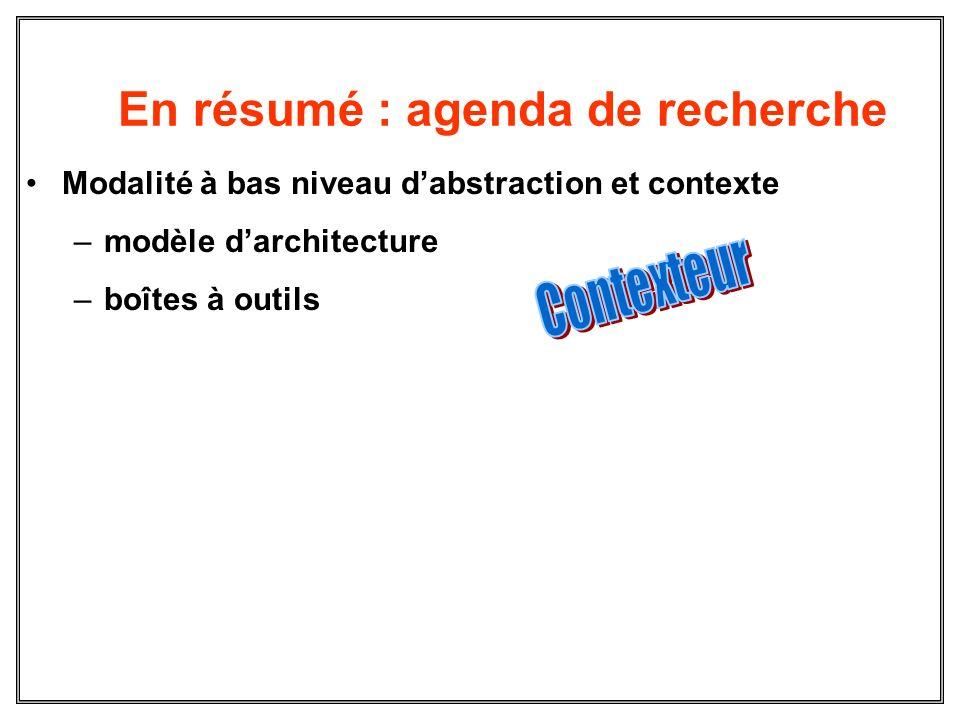 En résumé : agenda de recherche Modalité à bas niveau dabstraction et contexte –modèle darchitecture –boîtes à outils