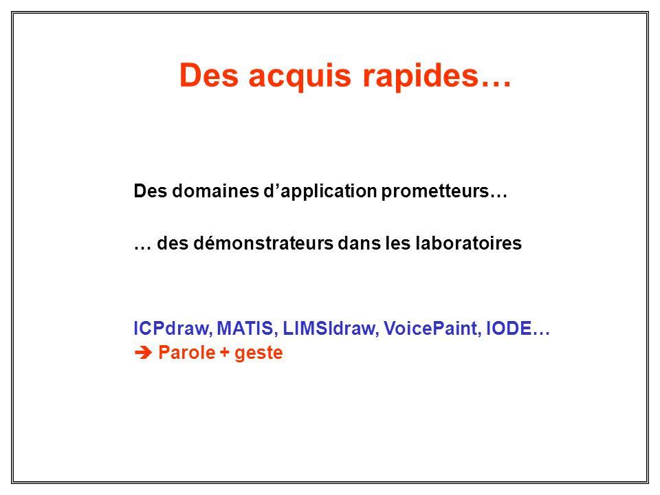Des acquis rapides… Des domaines dapplication prometteurs… … des démonstrateurs dans les laboratoires ICPdraw, MATIS, LIMSIdraw, VoicePaint, IODE… Par