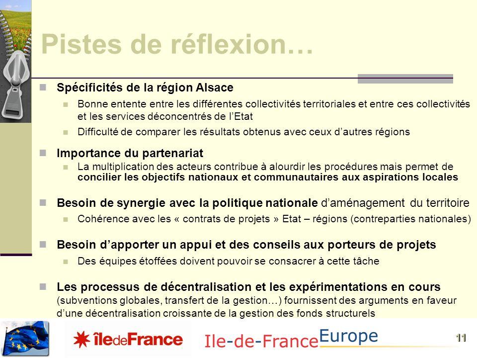 11 Pistes de réflexion… Spécificités de la région Alsace Bonne entente entre les différentes collectivités territoriales et entre ces collectivités et