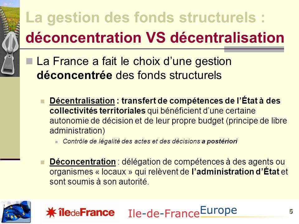 5 La France a fait le choix dune gestion déconcentrée des fonds structurels Décentralisation : transfert de compétences de lÉtat à des collectivités t