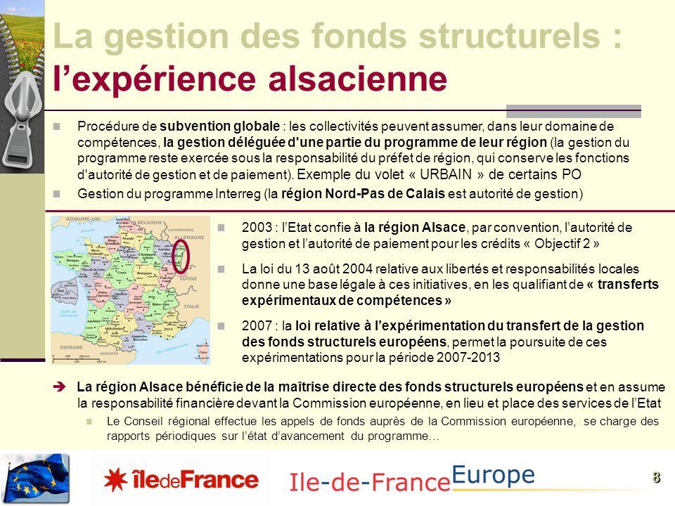 8 La gestion des fonds structurels : lexpérience alsacienne Procédure de subvention globale : les collectivités peuvent assumer, dans leur domaine de