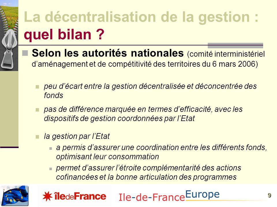 9 La décentralisation de la gestion : quel bilan ? Selon les autorités nationales (comité interministériel daménagement et de compétitivité des territ