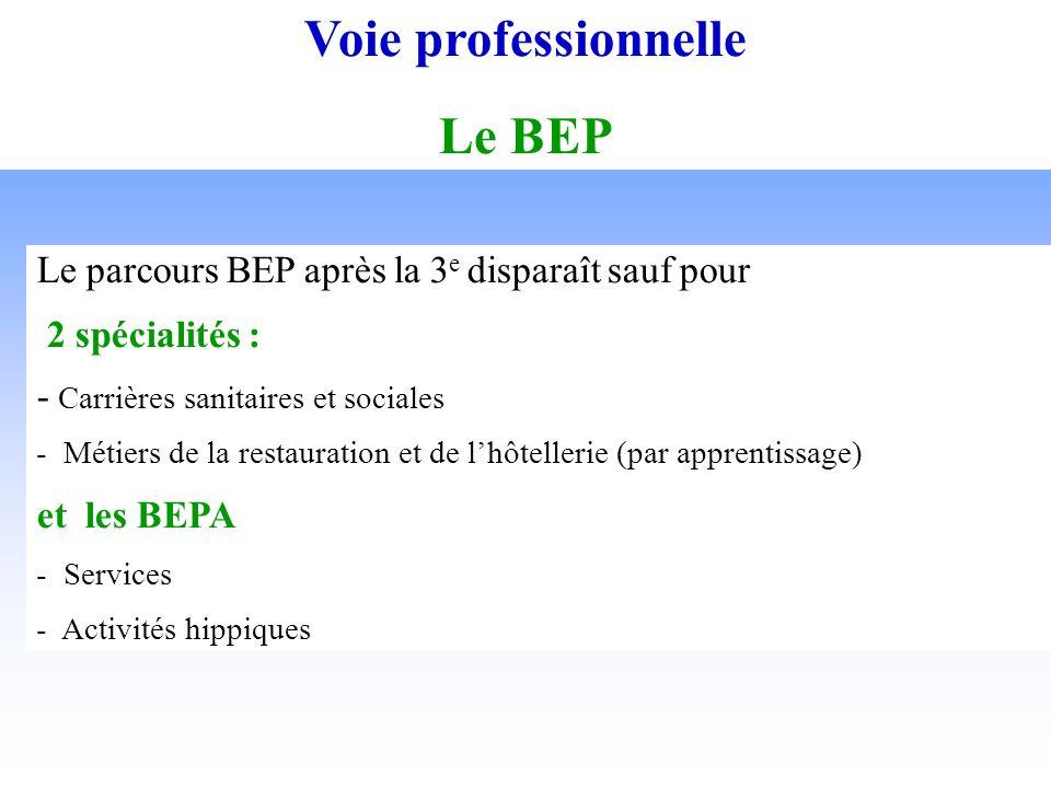 Voie professionnelle Le BEP Le parcours BEP après la 3 e disparaît sauf pour 2 spécialités : - Carrières sanitaires et sociales - Métiers de la restauration et de lhôtellerie (par apprentissage) et les BEPA - Services - Activités hippiques