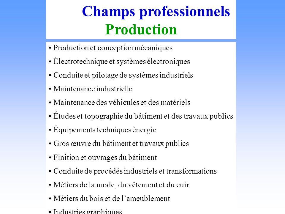 Les Champs professionnels Production Production et conception mécaniques Électrotechnique et systèmes électroniques Conduite et pilotage de systèmes i