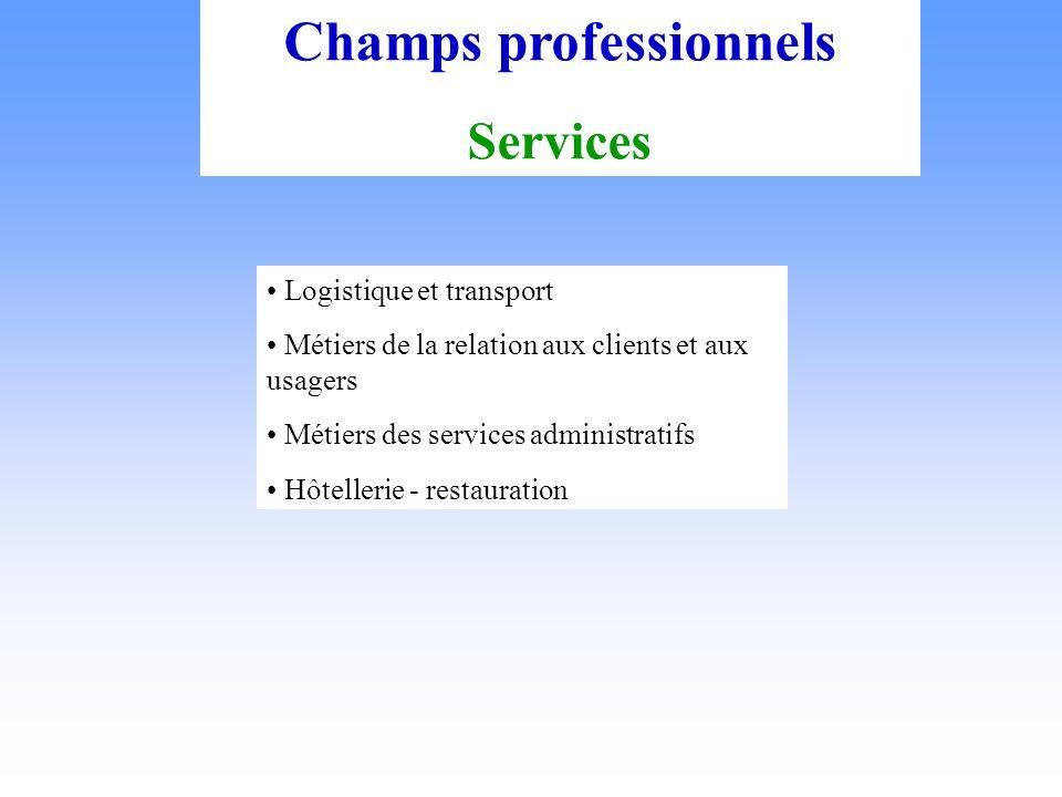 Champs professionnels Services Logistique et transport Métiers de la relation aux clients et aux usagers Métiers des services administratifs Hôtellerie - restauration