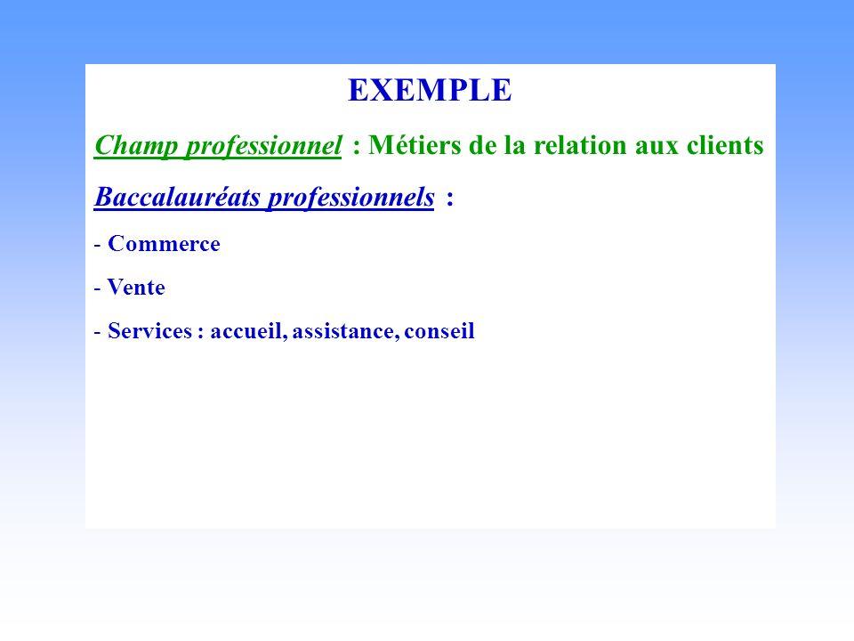 EXEMPLE Champ professionnel : Métiers de la relation aux clients Baccalauréats professionnels : - Commerce - Vente - Services : accueil, assistance, conseil