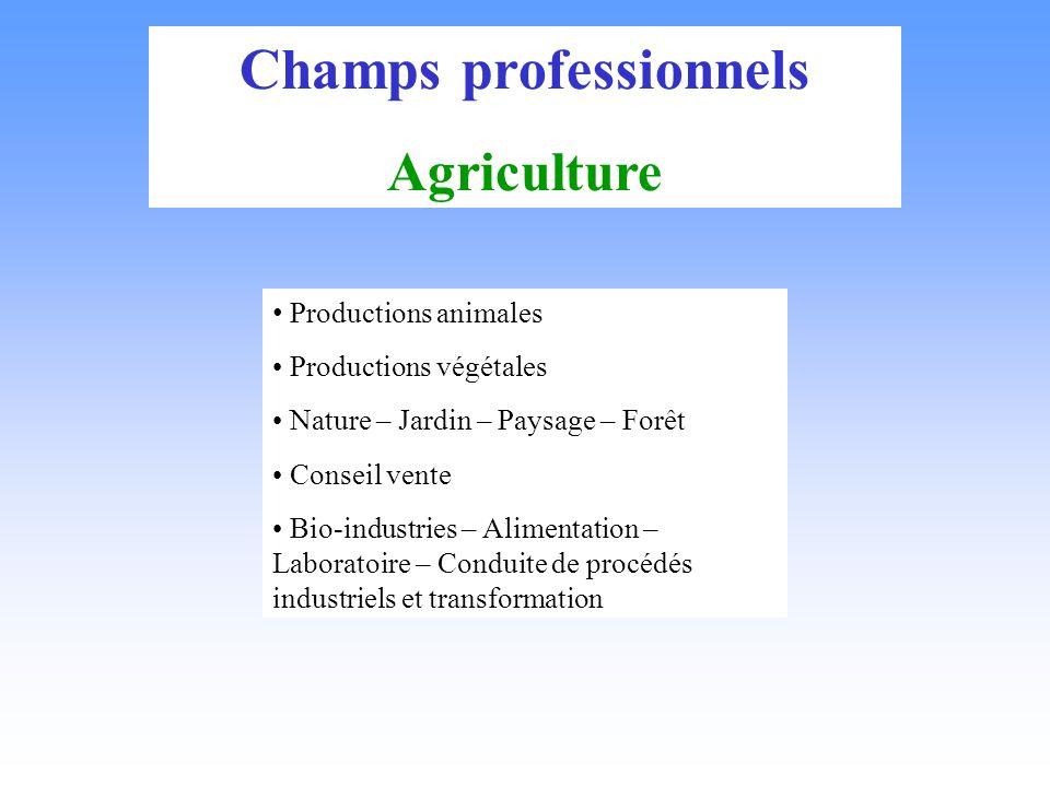 Champs professionnels Agriculture Productions animales Productions végétales Nature – Jardin – Paysage – Forêt Conseil vente Bio-industries – Alimentation – Laboratoire – Conduite de procédés industriels et transformation
