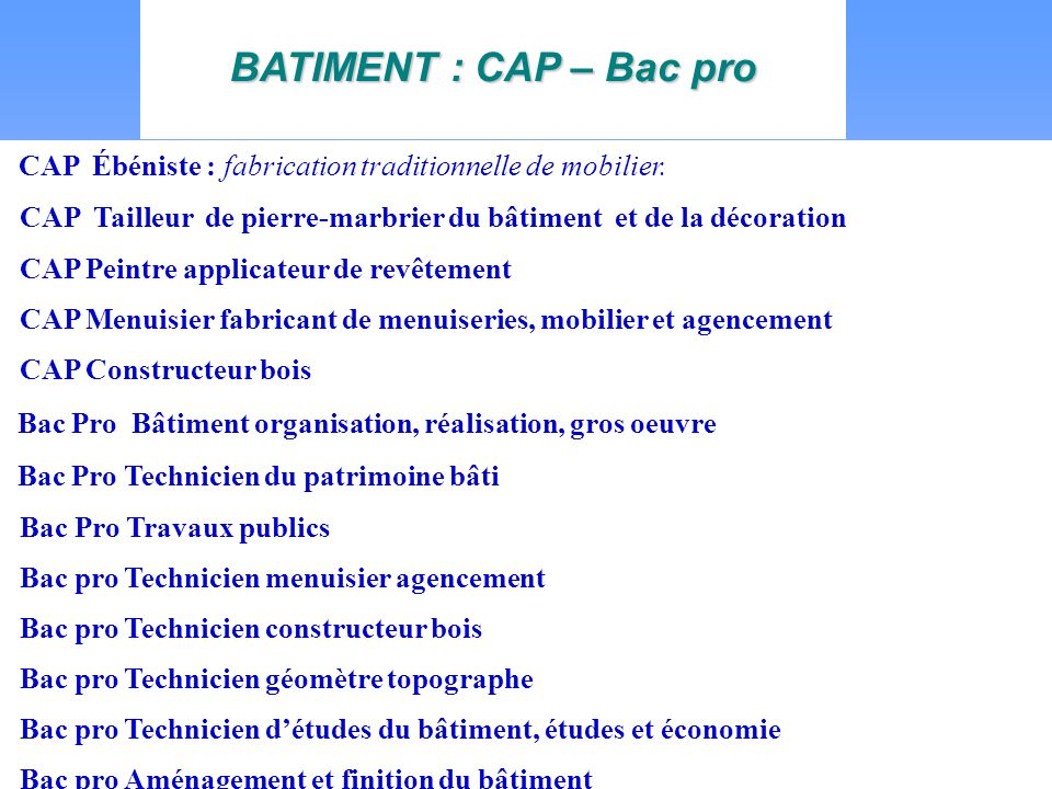 BATIMENT : CAP – Bac pro CAP Ébéniste : fabrication traditionnelle de mobilier.