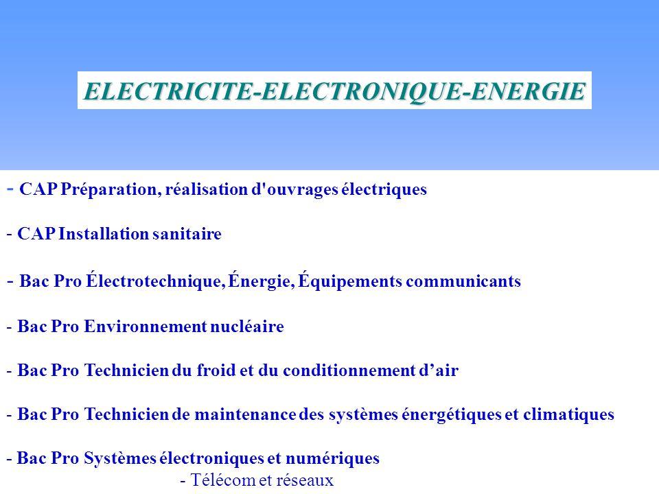 - CAP Préparation, réalisation d ouvrages électriques - CAP Installation sanitaire - Bac Pro Électrotechnique, Énergie, Équipements communicants - Bac Pro Environnement nucléaire - Bac Pro Technicien du froid et du conditionnement dair - Bac Pro Technicien de maintenance des systèmes énergétiques et climatiques - Bac Pro Systèmes électroniques et numériques - Télécom et réseaux - Alarmes, sécurité, incendie ELECTRICITE-ELECTRONIQUE-ENERGIE