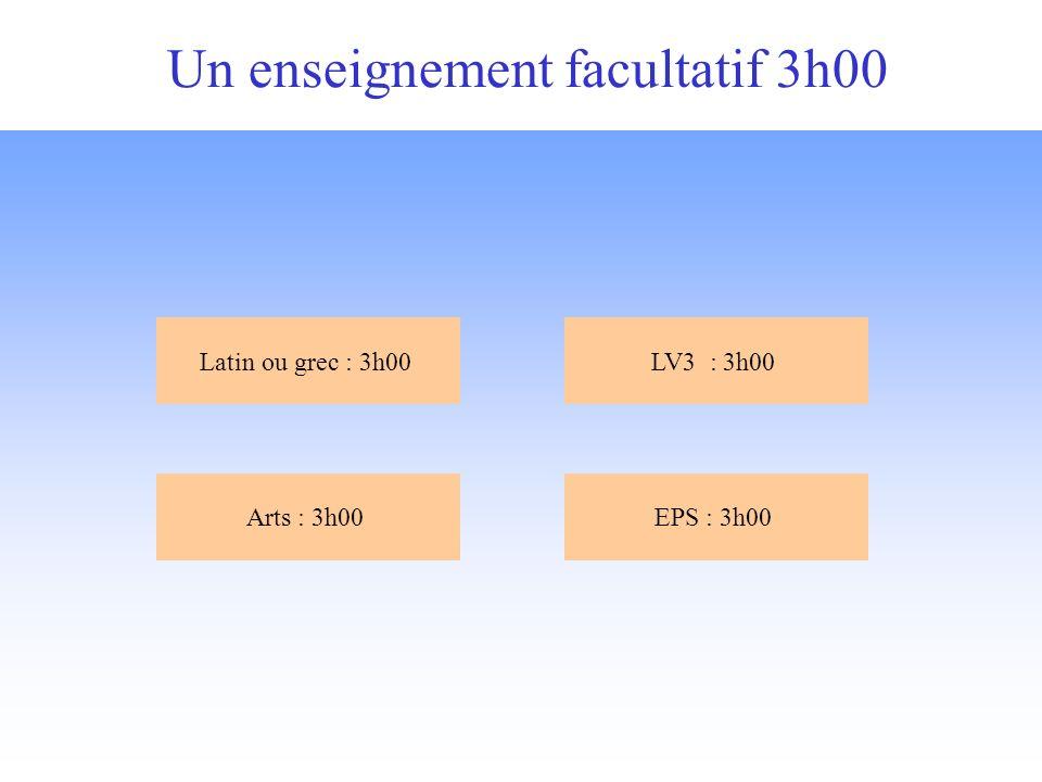 Un enseignement facultatif 3h00 Arts : 3h00EPS : 3h00 Latin ou grec : 3h00LV3 : 3h00