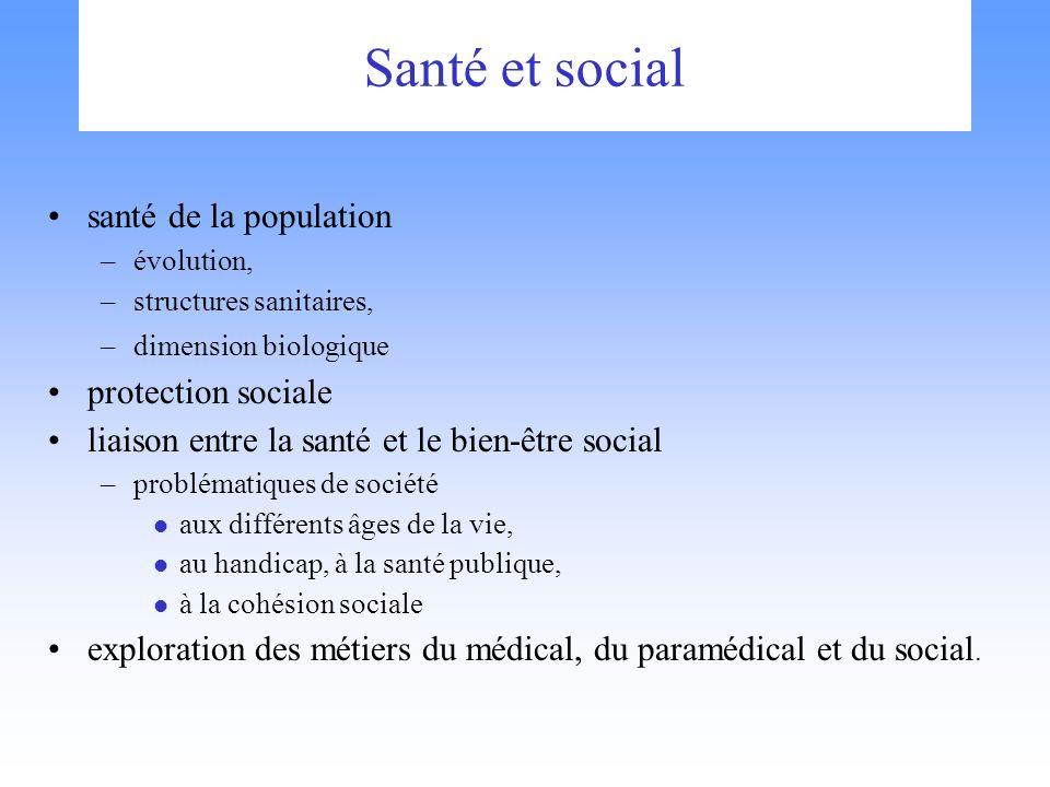 Santé et social santé de la population –évolution, –structures sanitaires, –dimension biologique protection sociale liaison entre la santé et le bien-