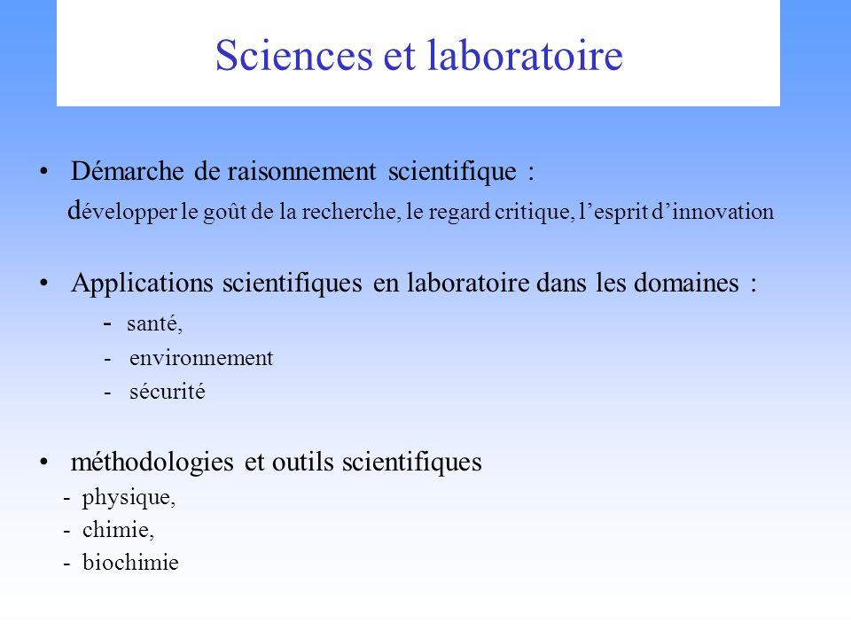 Sciences et laboratoire Démarche de raisonnement scientifique : d évelopper le goût de la recherche, le regard critique, lesprit dinnovation Applicati