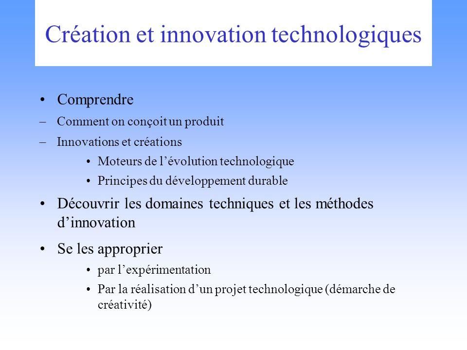 Création et innovation technologiques Comprendre –Comment on conçoit un produit –Innovations et créations Moteurs de lévolution technologique Principe