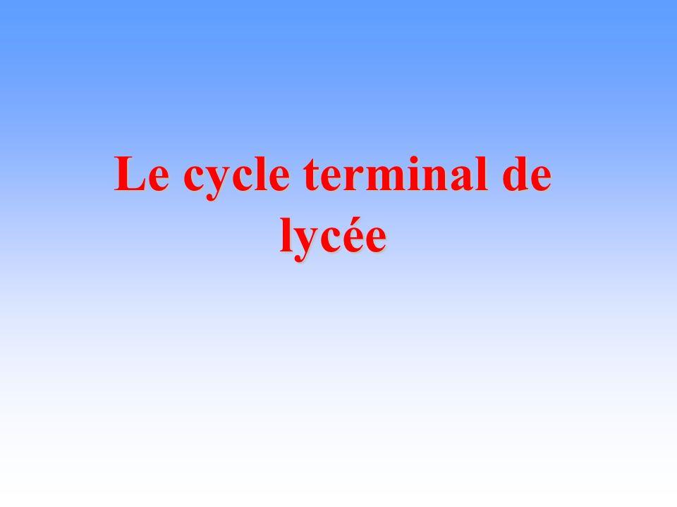 Le cycle terminal de lycée