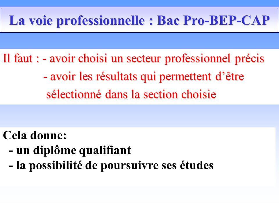 La voie professionnelle : Bac ProBEPCAP La voie professionnelle : Bac Pro-BEP-CAP Il faut : - avoir choisi un secteur professionnel précis - avoir les résultats qui permettent dêtre - avoir les résultats qui permettent dêtre sélectionné dans la section choisie sélectionné dans la section choisie Cela donne: - un diplôme qualifiant - la possibilité de poursuivre ses études