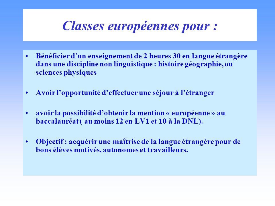 Classes européennes pour : Bénéficier dun enseignement de 2 heures 30 en langue étrangère dans une discipline non linguistique : histoire géographie,