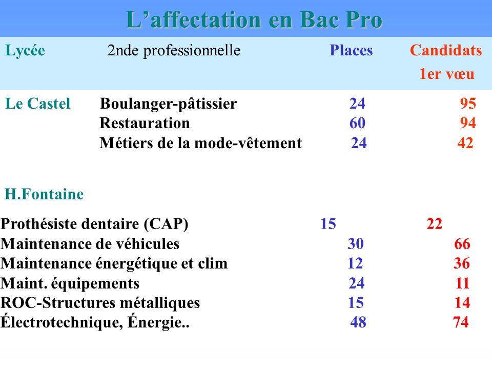 Laffectation en Bac Pro Lycée 2nde professionnelle Places Candidats 1er vœu Le Castel Boulanger-pâtissier 24 95 Restauration 60 94 Métiers de la mode-vêtement 24 42 H.Fontaine Prothésiste dentaire (CAP) 15 22 Maintenance de véhicules 30 66 Maintenance énergétique et clim 12 36 Maint.