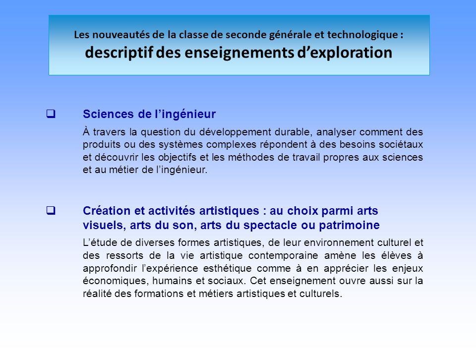 Les nouveautés de la classe de seconde générale et technologique : descriptif des enseignements dexploration Sciences de lingénieur À travers la quest