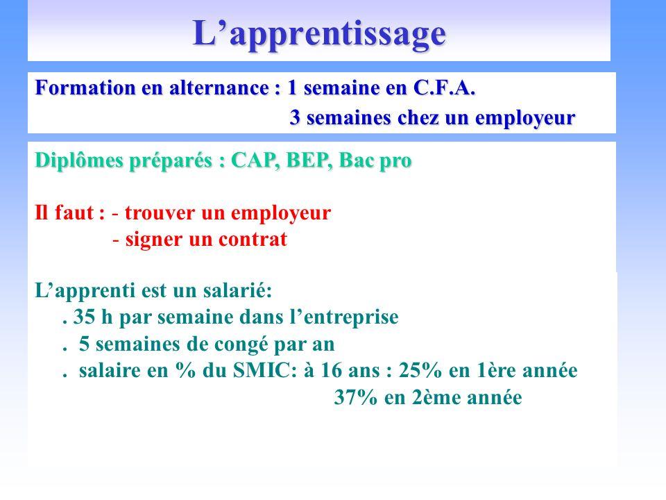 Lapprentissage Formation en alternance : 1 semaine en C.F.A. 3 semaines chez un employeur 3 semaines chez un employeur Diplômes préparés : CAP, BEP, B