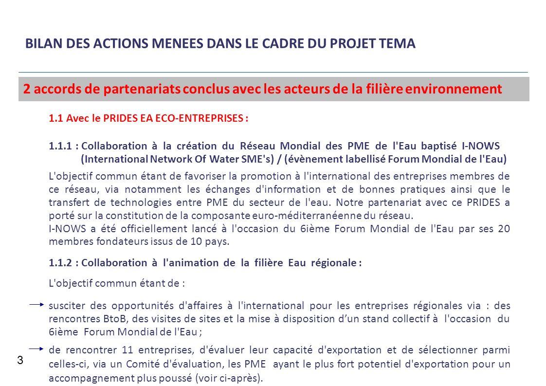 BILAN DES ACTIONS MENEES DANS LE CADRE DU PROJET TEMA 3 1.1 Avec le PRIDES EA ECO-ENTREPRISES : 1.1.1 : Collaboration à la création du Réseau Mondial