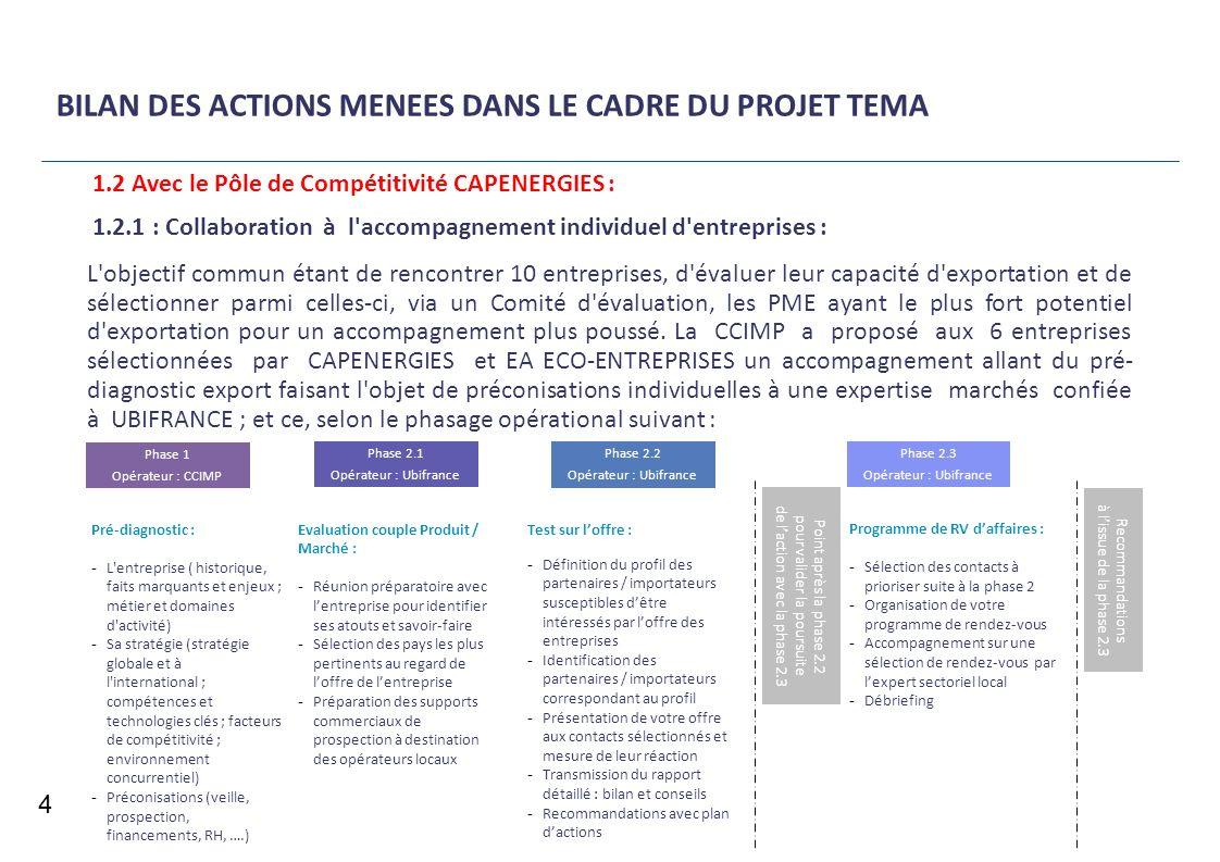 BILAN DES ACTIONS MENEES DANS LE CADRE DU PROJET TEMA 4 1.2.1 : Collaboration à l'accompagnement individuel d'entreprises : L'objectif commun étant de