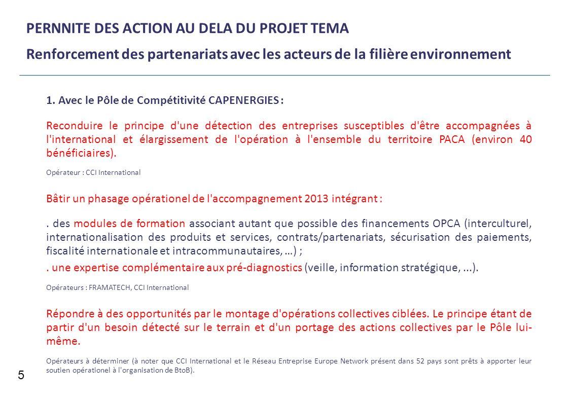 PERNNITE DES ACTION AU DELA DU PROJET TEMA Renforcement des partenariats avec les acteurs de la filière environnement 5 1. Avec le Pôle de Compétitivi