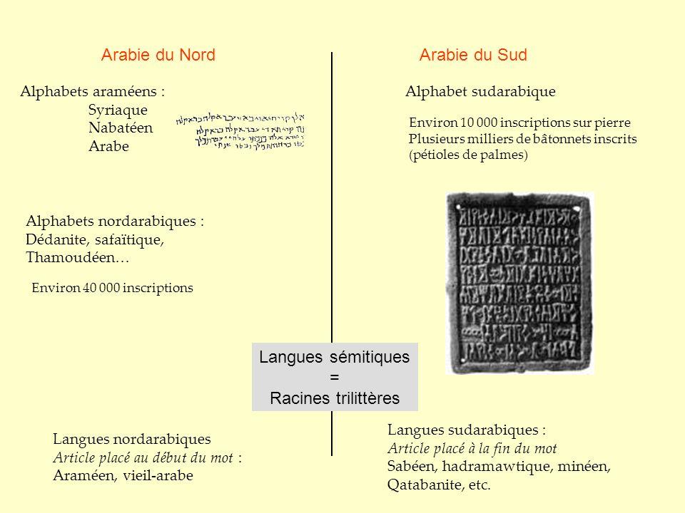Arabie du NordArabie du Sud Alphabet sudarabiqueAlphabets araméens : Syriaque Nabatéen Arabe Environ 40 000 inscriptions Environ 10 000 inscriptions s