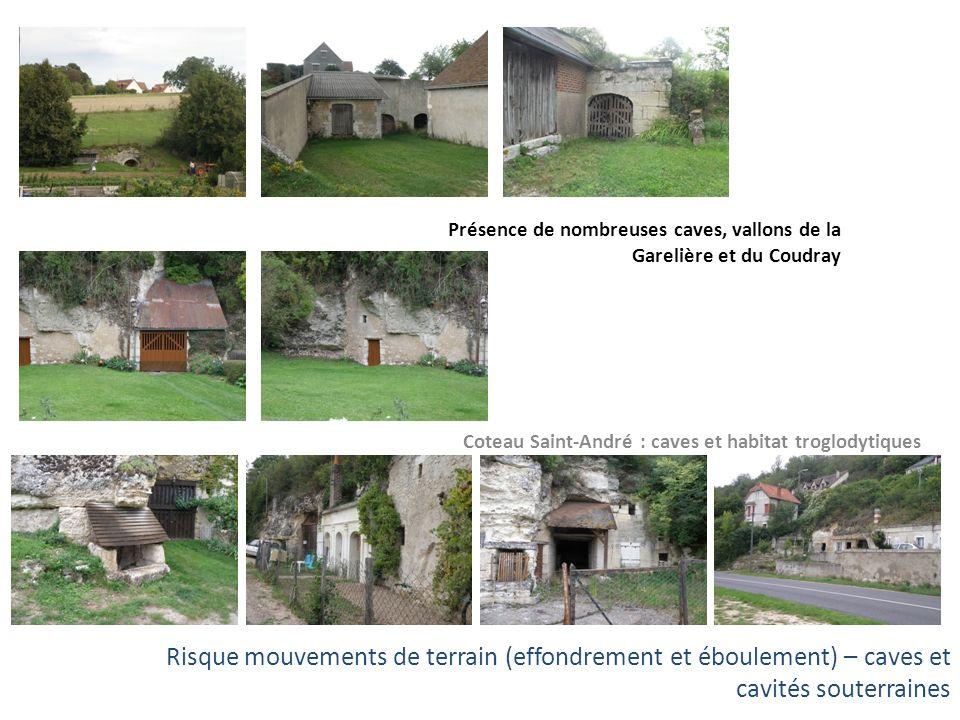 Coteau Saint-André : caves et habitat troglodytiques Présence de nombreuses caves, vallons de la Garelière et du Coudray Risque mouvements de terrain