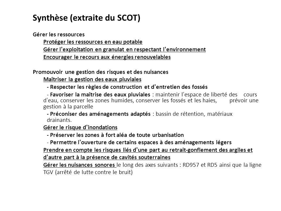 Synthèse (extraite du SCOT) Gérer les ressources Protéger les ressources en eau potable Gérer lexploitation en granulat en respectant lenvironnement E