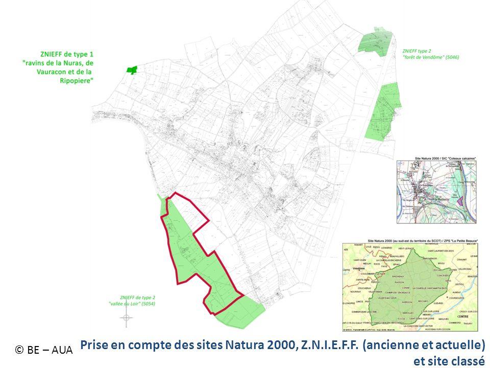 Prise en compte des sites Natura 2000, Z.N.I.E.F.F. (ancienne et actuelle) et site classé © BE – AUA