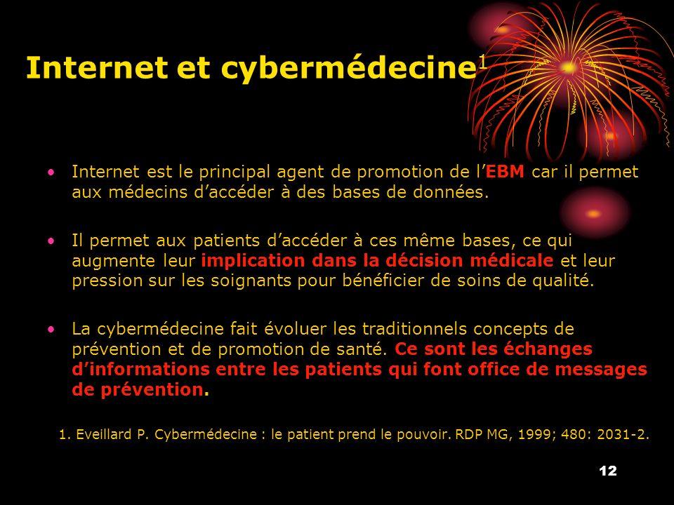 12 Internet et cybermédecine 1 Internet est le principal agent de promotion de lEBM car il permet aux médecins daccéder à des bases de données.