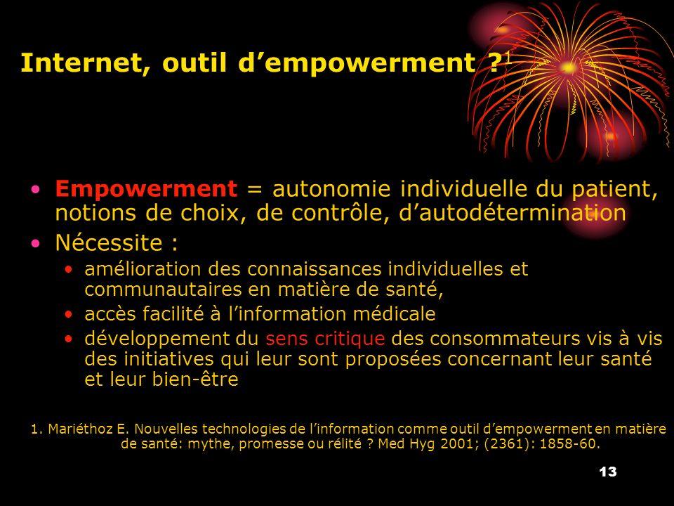 13 Internet, outil dempowerment ? 1 Empowerment = autonomie individuelle du patient, notions de choix, de contrôle, dautodétermination Nécessite : amé