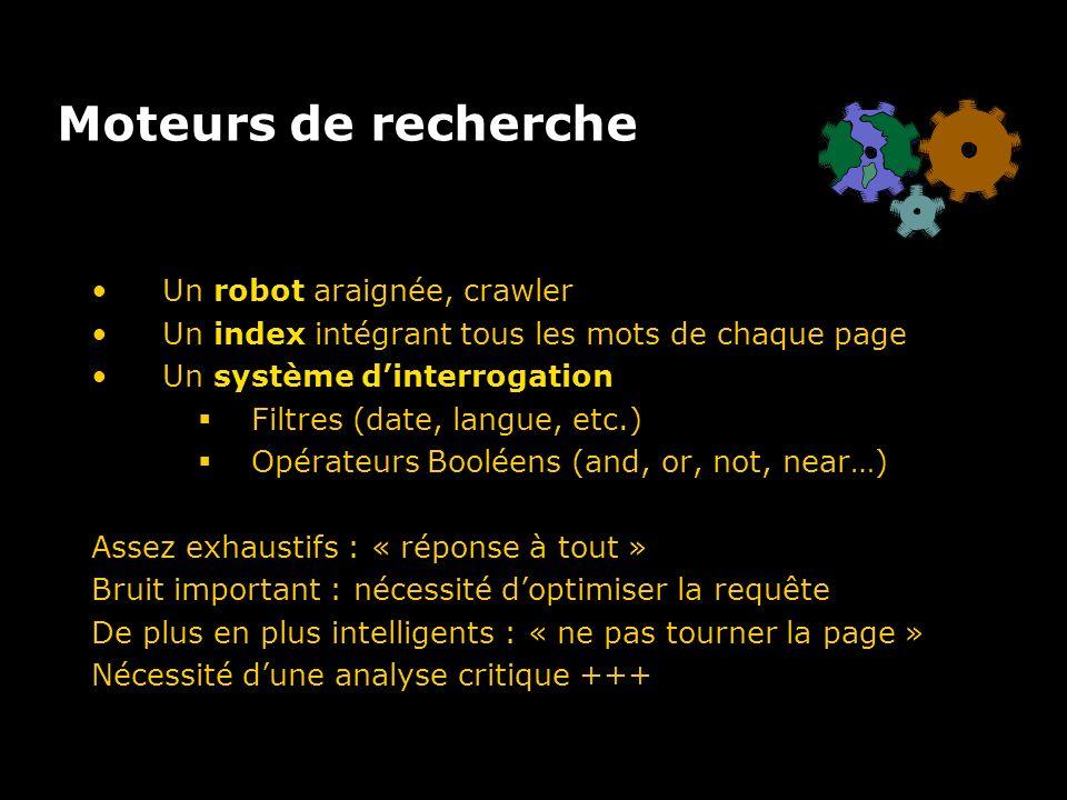 Moteurs de recherche Un robot araignée, crawler Un index intégrant tous les mots de chaque page Un système dinterrogation Filtres (date, langue, etc.) Opérateurs Booléens (and, or, not, near…) Assez exhaustifs : « réponse à tout » Bruit important : nécessité doptimiser la requête De plus en plus intelligents : « ne pas tourner la page » Nécessité dune analyse critique +++