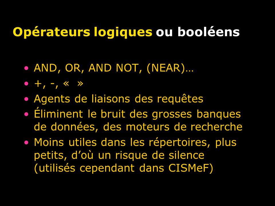 Opérateurs logiques ou booléens AND, OR, AND NOT, (NEAR)… +, -, « » Agents de liaisons des requêtes Éliminent le bruit des grosses banques de données, des moteurs de recherche Moins utiles dans les répertoires, plus petits, doù un risque de silence (utilisés cependant dans CISMeF)