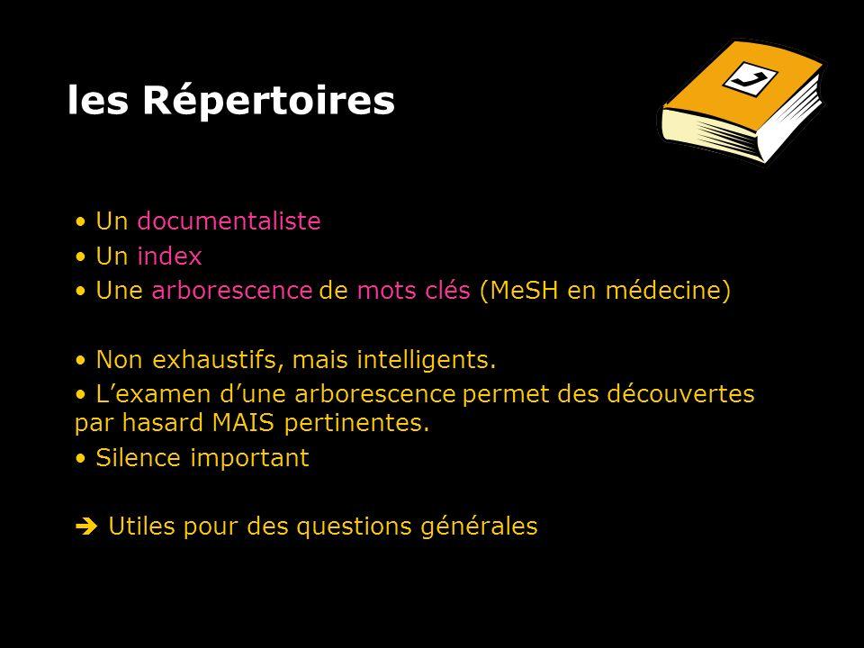 les Répertoires Un documentaliste Un index Une arborescence de mots clés (MeSH en médecine) Non exhaustifs, mais intelligents.