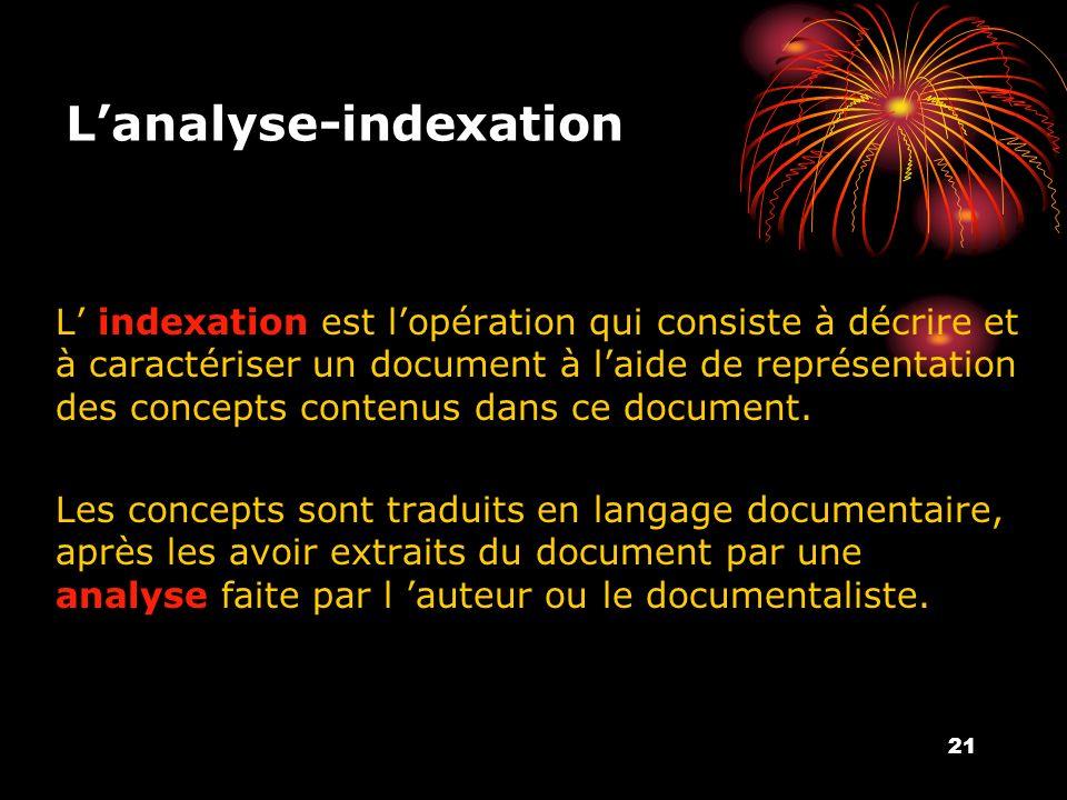 21 Lanalyse-indexation L indexation est lopération qui consiste à décrire et à caractériser un document à laide de représentation des concepts contenus dans ce document.