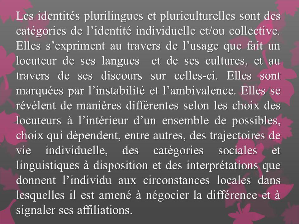 Les identités plurilingues et pluriculturelles sont des catégories de lidentité individuelle et/ou collective.